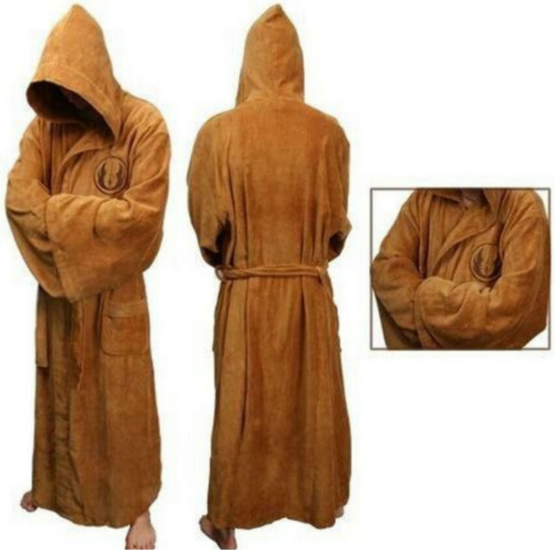 Star Wars Adult Brown Jedi/Black Sith Robe Men Bathrobe Cape Cloak Costume ...