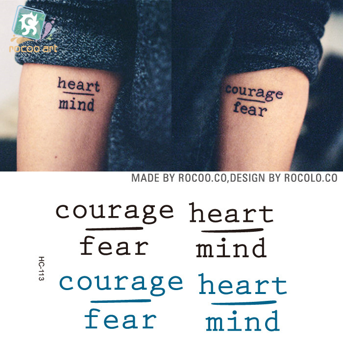 2 Sheets Hc1113 Waterproof Temporary Tattoo Stickers Courage Fear