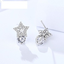 hot deal buy genuine 925 sterling silver earrings small stars with white popular pure silver jewelry female zircon earrings studs for women