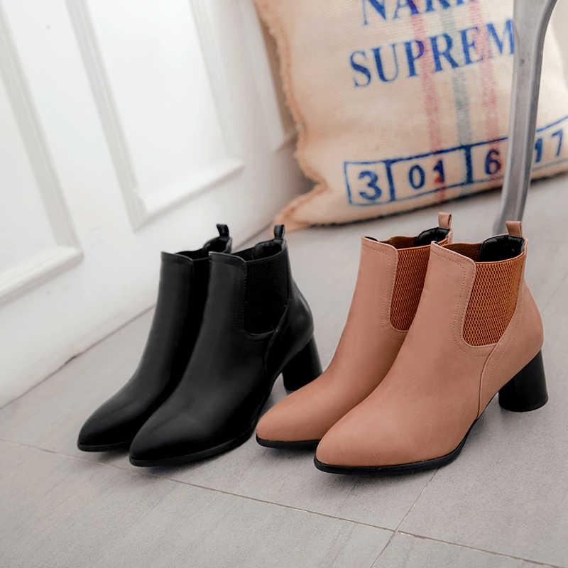 WETKISS 2018 Yeni Sonbahar Yüksek Topuklu Kadın Çizmeler Pu Sivri Burun Ayakkabı yarım çizmeler Kış sıcak Moda kadın ayakkabısı Büyük Boy 47