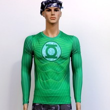 Mans Green Lantern T Shirts Long Sleeve High Elastic Fast Dry Tops Super Hero Shirts Water Proof Sport Riding Outdoor Tops