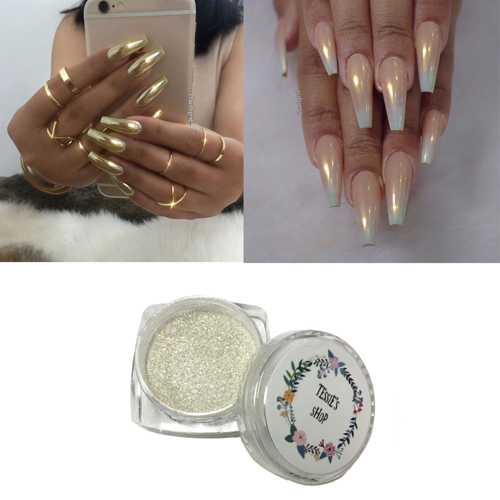 Tessie shop oro sirena uñas pigmento Chrome stiletto clavos nail art ...
