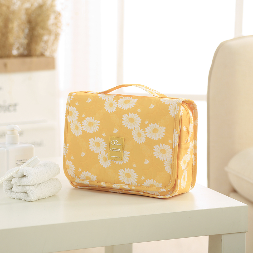 Image 2 - Travel Toiletry Bag, NEW Daisy Yellow Pattern Portable Hanging Travel Wash Bag Foldable Make up Bags with Hook Organizer Bags-in Hanging Organizers from Home & Garden