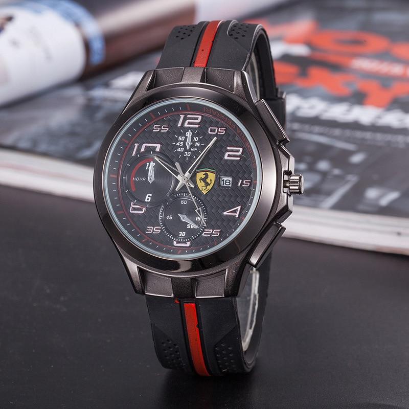 SCUDERIA FERRARI Mode Uhren Männer Gestreiften Harz Band Männlichen Quarz Handgelenk Uhren Top Marke Luxus Montre Homme 826749523