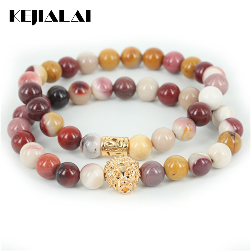 KEJIALAI 2pcs New Arrival Beaded Lion Head Men Bracelet Natural Egg Yellow Round Stone Beads Women Bracelet Fine Jewelry A Gift