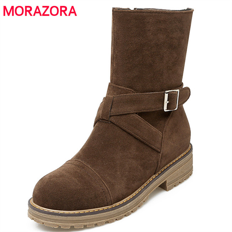 MORAZORA Autumn winter shoes woman ankle boots for women fashion punk med heels shoes round toe womens boots big size 34-43 enmayla ankle boots for women low heels autumn and winter boots shoes woman large size 34 43 round toe motorcycle boots