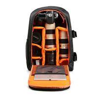 Multi functional Waterproof Camera Backpack Laptop Video Case DSLR Camera Bag for Nikon Canon Sony Digital Camera Black+Orange
