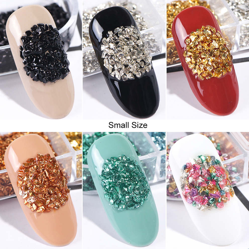 Image 5 - 12 Colors/Set Irregular Metal Rose Gold Nail Sequins Broken Glass Gravel Glitter Stone Accessories Nail Art Decorations CHBLB/S-in Nail Glitter from Beauty & Health