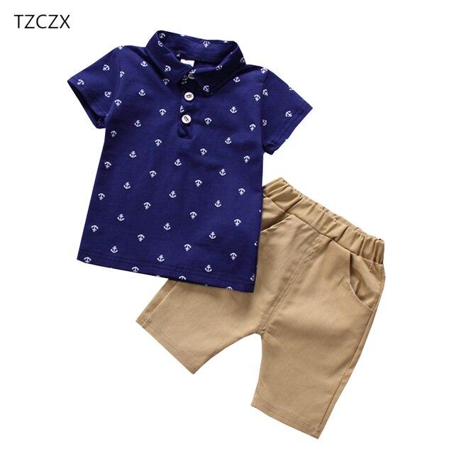 TZCZX חדש קיץ ילדי תינוק נערי סטי אופנה חידוש מודפס חולצה + מכנסיים חליפת עבור 12 חודשים עד 4 שנים ילדים ישנים ללבוש