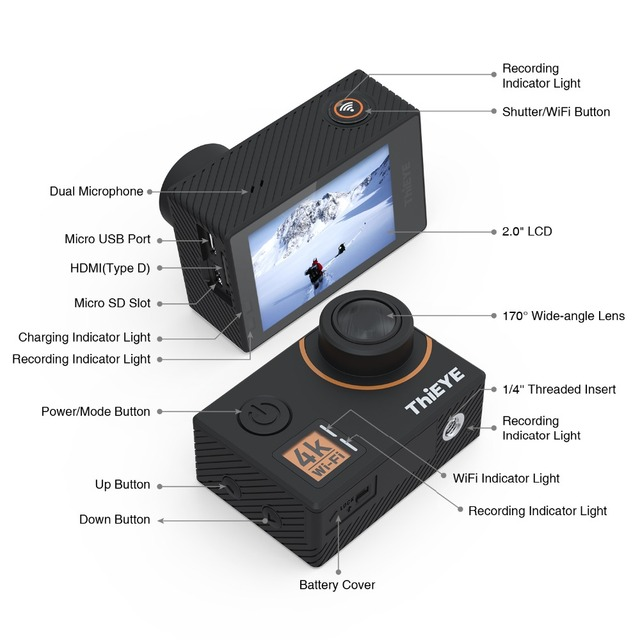 4K Ultra HD Action Camera with Gyro Stabilizer