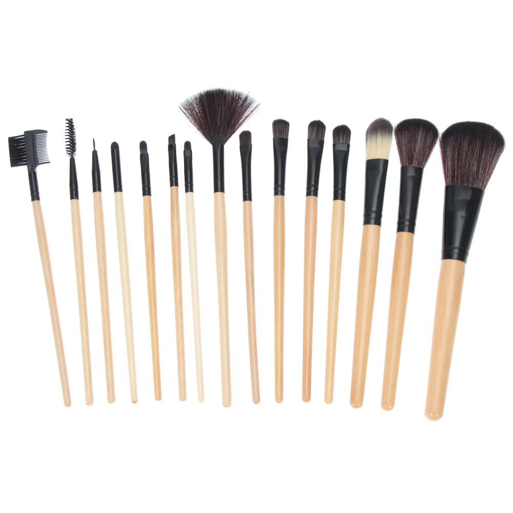 15 pcs Professional Makeup Brush Set Eyeshadow Eyeliner Eyelash Lip Foundation Make Up Brushes Pencil Cosmetics Tool Leather Bag 10pcs tooth brush shape oval makeup brush set multipurpose makeup brushes professional foundation powder brush kits make up tool