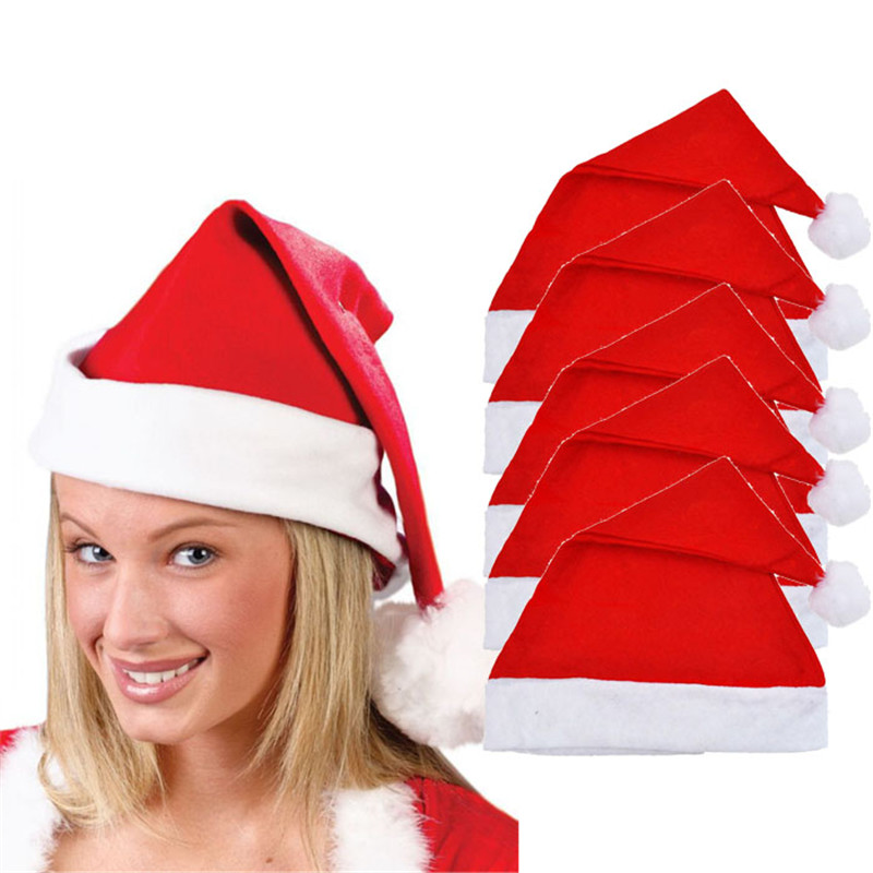 # Vestido 2019 5PCS Adult Unisex Xmas Red Cap Santa Novelty Hat Christmas gifts Party decorations Hats for women 17
