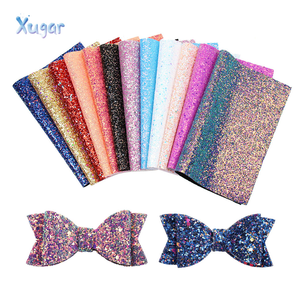 Xugar Glitter Synthetic Leather Fabric Chunky Glitter Sheets In Crafts Party Wedding Decoration DIY Hair Bow Leather Materials