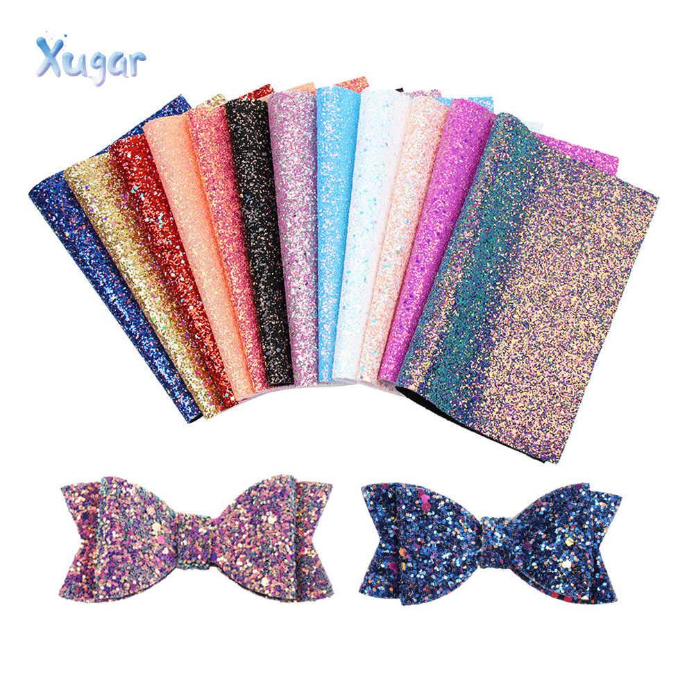 Xugar brokat syntetyczna skóra tkanina Chunky Glitter arkuszy w rzemiosło dekoracja na przyjęcie ślubne diy do włosów łuk materiały ze skóry
