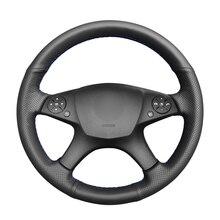 Capa de volante de couro artificial do plutônio preto costurado à mão para mercedes benz w204 c class 2007 2010 c280 c230