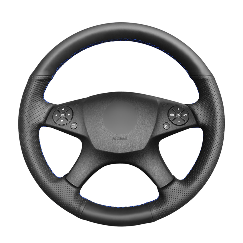 Hand-stitched Black PU Artificial Leather Steering Wheel Cover for Mercedes Benz C-Class W204 2007 2008 2009 2010 2011