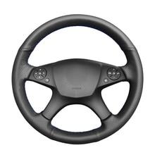 Protector de cuero Artificial negro de punto para volante de Mercedes Benz