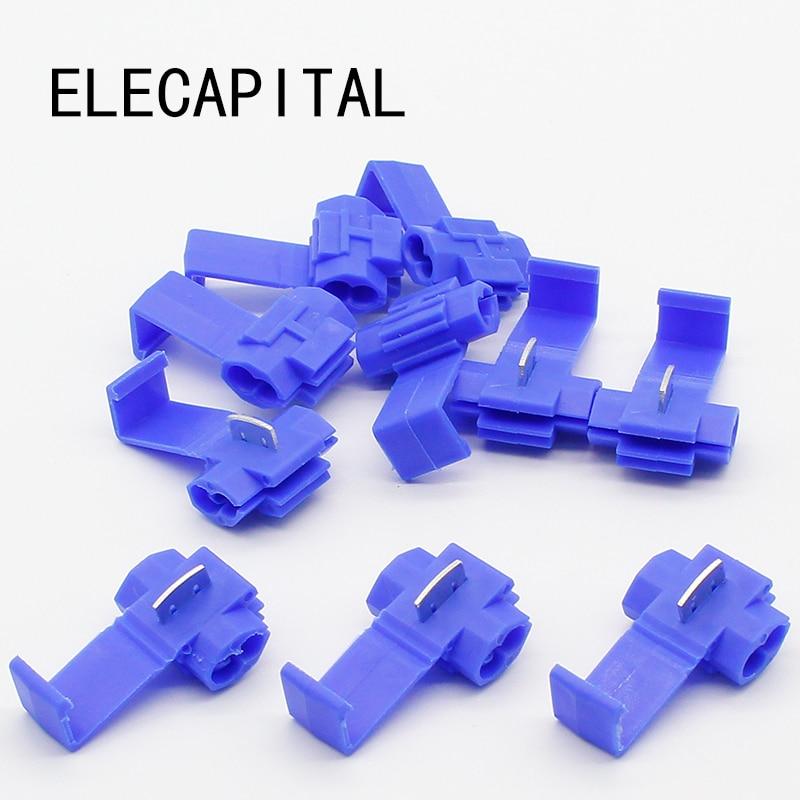 цена на 50PCS Blue Scotch Lock Wire Electrical Cable Connectors Quick Splice Terminals Crimp