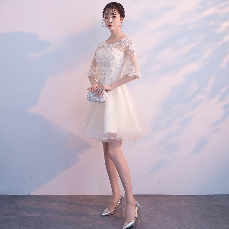 White Lace Women Cheongsam Asian Bride Wedding Evening Party Dresses Hollow Out O-Neck Qipao Prom Mesh Dress Gown Size XS-XXL