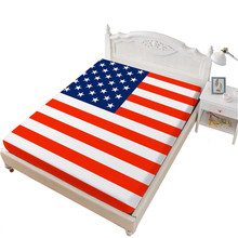 Classic American Flag Bed Sheet National Day Festival Fitted Sheet Star Striped Patchwork Bedclothes Flag Day Home Decor D30