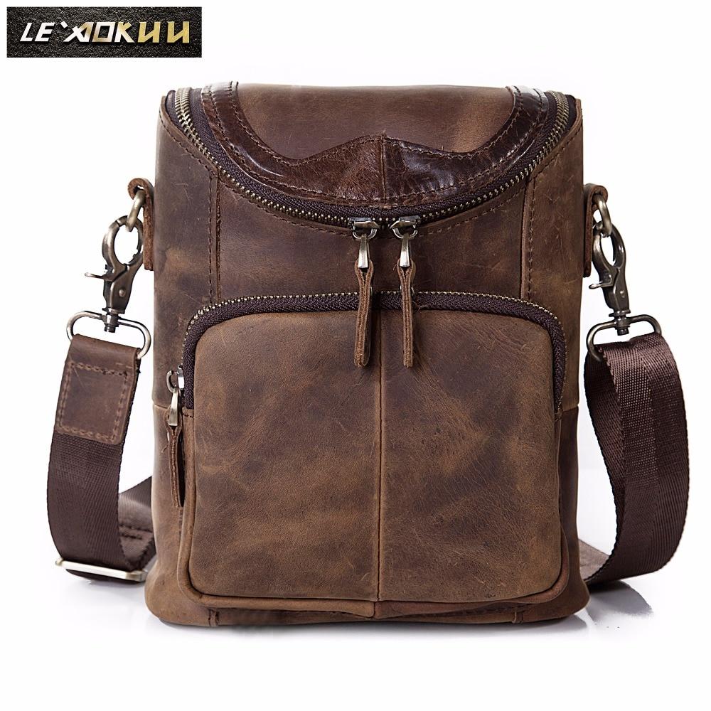 Leather Men Multifunction Casual Fashion Shoulder Messenger Bag Designer Mochila Waist Belt Pack 8