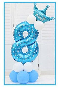 16 шт./упак. розового и голубого цвета для детей 0-9 цифры Большие Гелиевые номер Фольга детей фестивалей Dekoration День рождения шляпа игрушки для детей - Цвет: blue 8