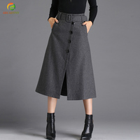 Winter And Spring Brief Style Single Buttoned Front Split High Waist Elegant A Line Skirt Side