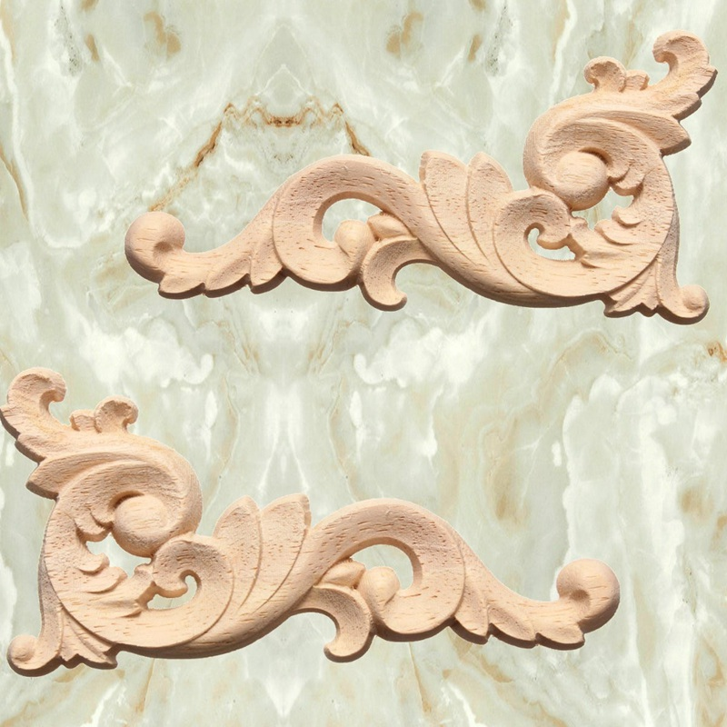 Kiwarm 1pc Woodcarving Decal Wooden Carved Corner Lique Frame Wall Doors Furniture Door Decor Decorative Sculptures 12x6cm In Statues From