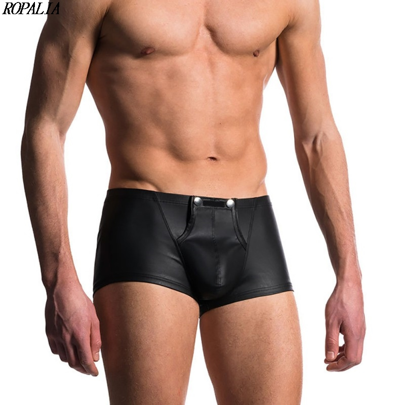 Men\'s Patent Leather Solid Breathable Underwear Soft Boxer Stretch Pouch Comfortable Boxers