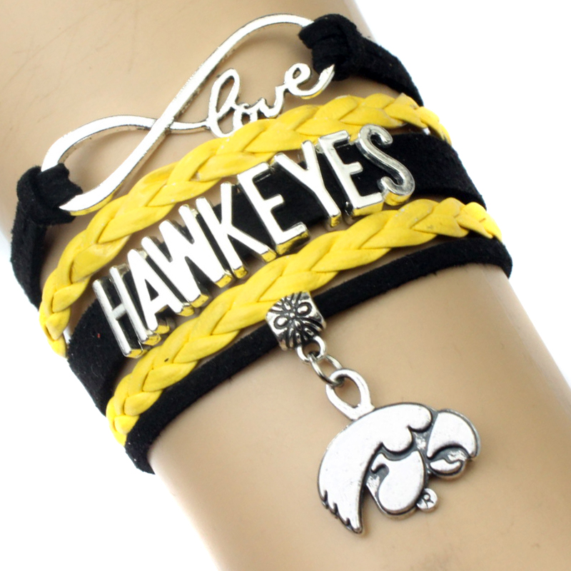 High Quality Infinity Love Iowa Hawkeyes Team Bracelet Gold Black Custom Any Styles Themes Drop Shipping