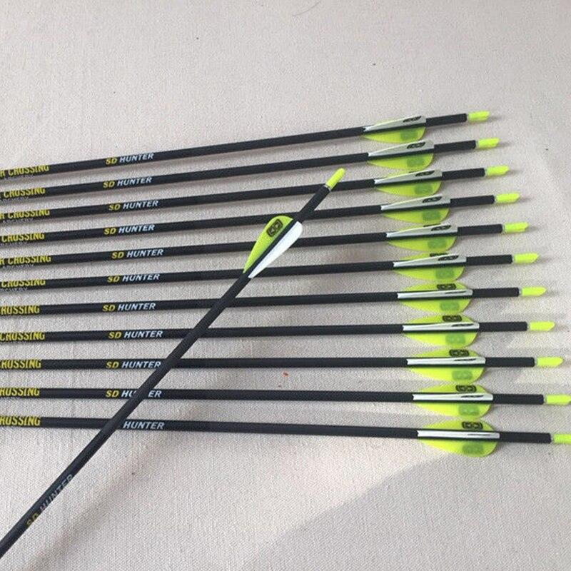 6pcs/12pcs Archery Pure Carbon Arrows ID4.2 Sp600 700 800 900 80gr Arrow Tips  For Recurve Compound Bow Arco Recurvo Hunting