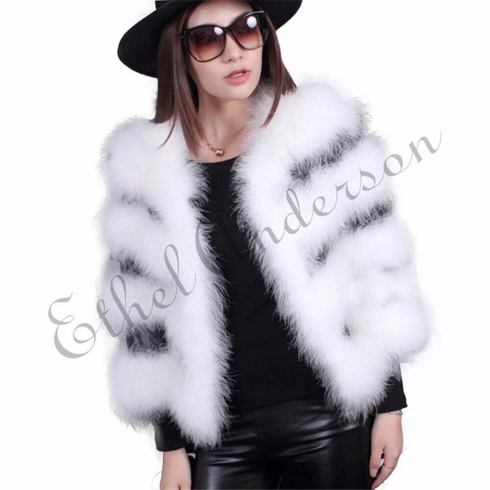 ETHEL ANDERSON Women's 100% Real Ostrich Fur Coat Jacket Seasons Series Outwear Real Turkey Feather  Short Style