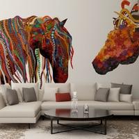 Tùy chỉnh hình nền sơn Màu horse head Bắc Âu hiện đại nhỏ gọn khách bức tranh tường phòng ngủ phòng hình nền