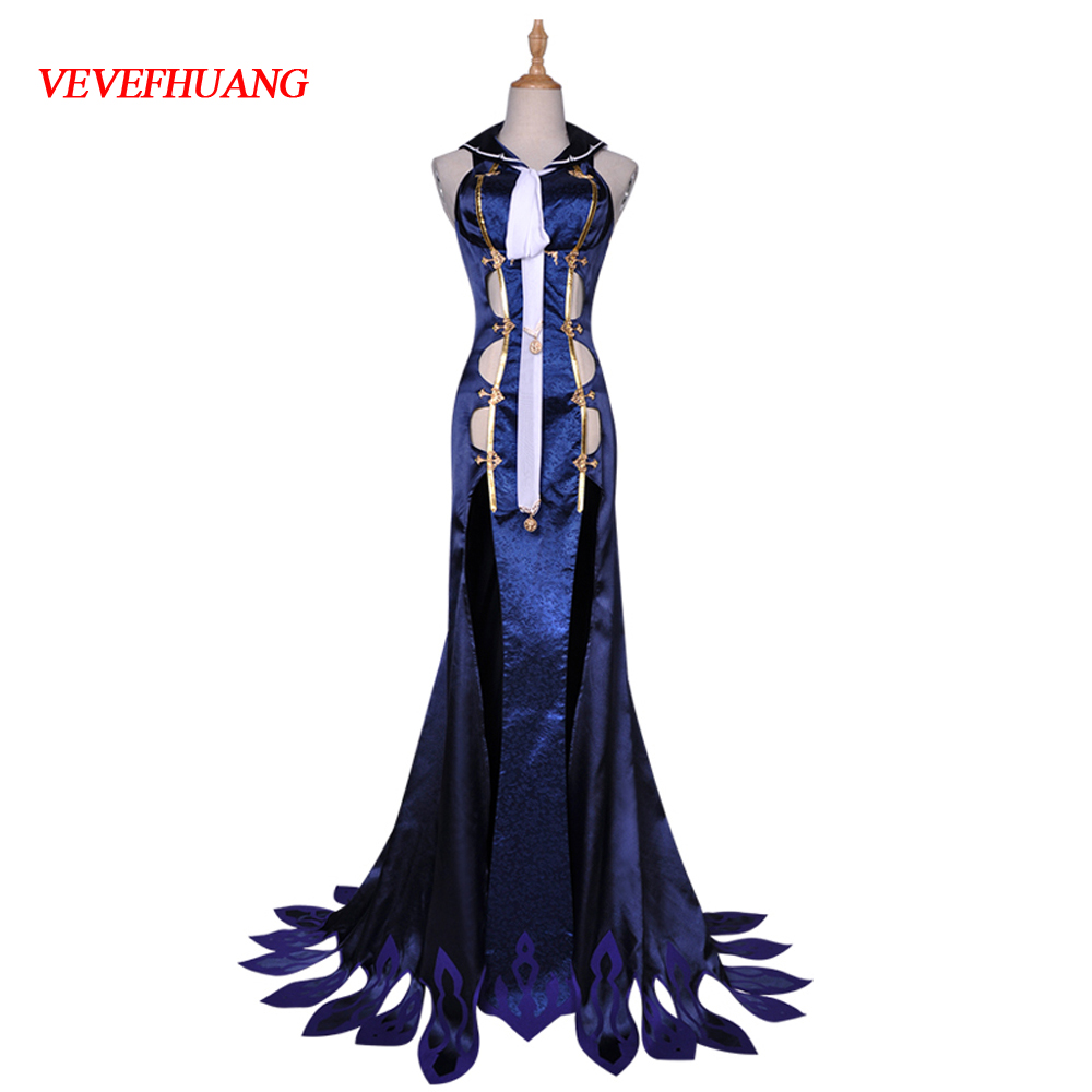 VEVEFHUANG SINoALICE Little Mermaid cosplay <font><b>costume</b></font> <font><b>sexy</b></font> long <font><b>blue</b></font> dress uniform accessories Carnival <font><b>Halloween</b></font> Anime clothes ou image