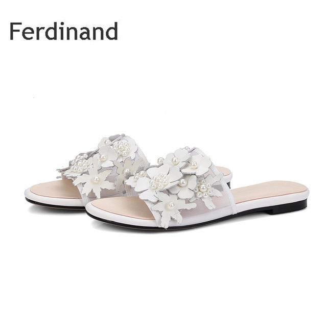 546d4b117bce Summer Women Slipper Genuine leather women shoes Ladies Casual Slides Mixed  color White Black Flower Hollow Women Flats shoes