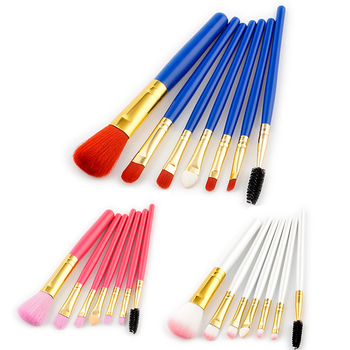 GUJHUI 7 Pcs Silver Blue Red Foundation Makeup Brushes Set Face Brush Cosmetics Beauty Essentials Kit Makeup Tools & Accessories