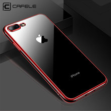 Funda de recubrimiento de TPU CAFELE 8 para iphone 7 Plus transparente funda para iphone 8 7 suave táctil plegable Ultra delgada carcasa brillante(China)