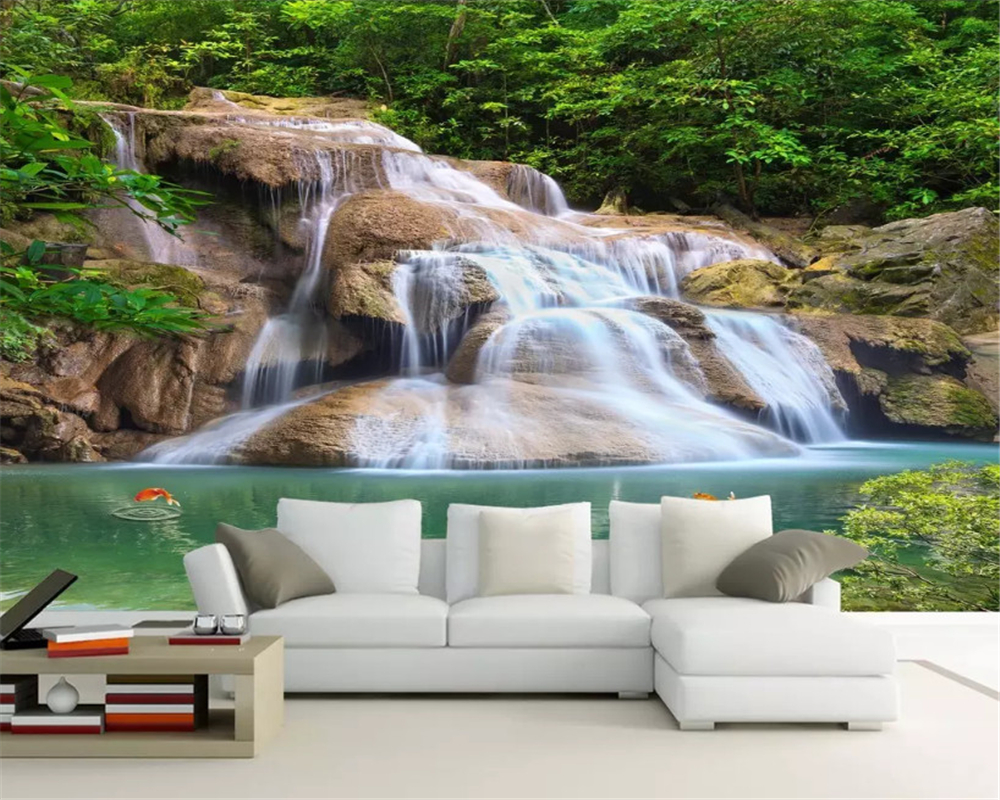 beibehang Custom size 3d wallpaper modern minimalist green tree forest waterfall landscape tooling background classic