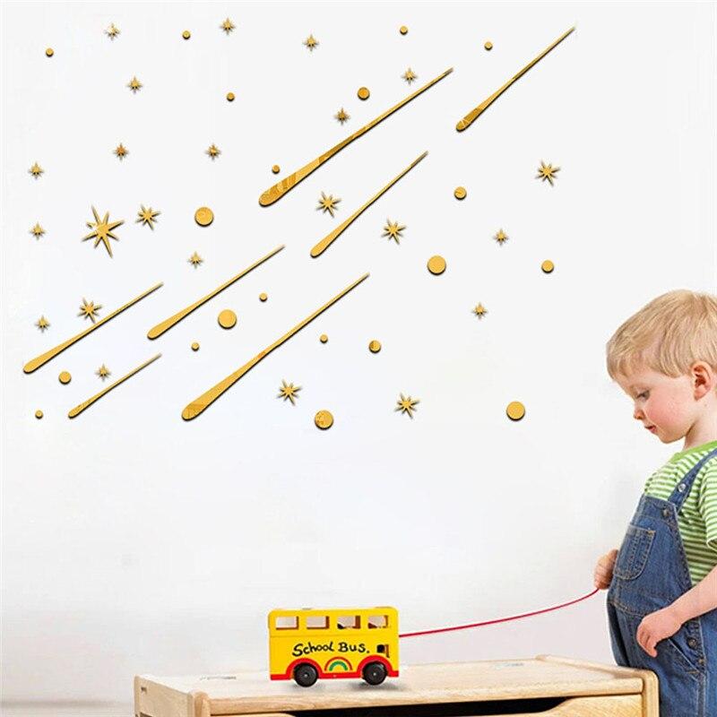 Метеоритный зеркальной стене Стикеры DIY 3D Декоративные блестящие зеркало Наклейки на стену таблички для гостиных Спальня Домашний Декор