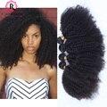Cabelos Cacheados Crespo mongol 8A Natural Virgem Encaracolado Afro Crespo cabelo Mongol Afro Crespo Encaracolado Tecer Cabelo Humano 4 Pacotes lidar