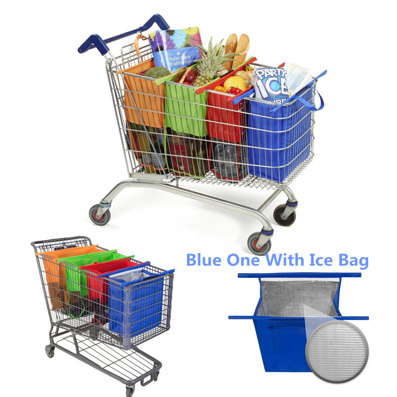 4pcs/set Cart Trolley Supermarket Shopping Bag Grocery Grab Shopping Bags Foldable Tote Eco-friendly Reusable Supermarket Bags 40343 adjustable pressure switch air compressor switch pressure regulating with 2 press gauges valve control set