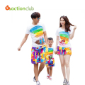 Family clothing set cotton rainbow set for mother father and me pants+shirts family clothes set matching mother daughter clothes
