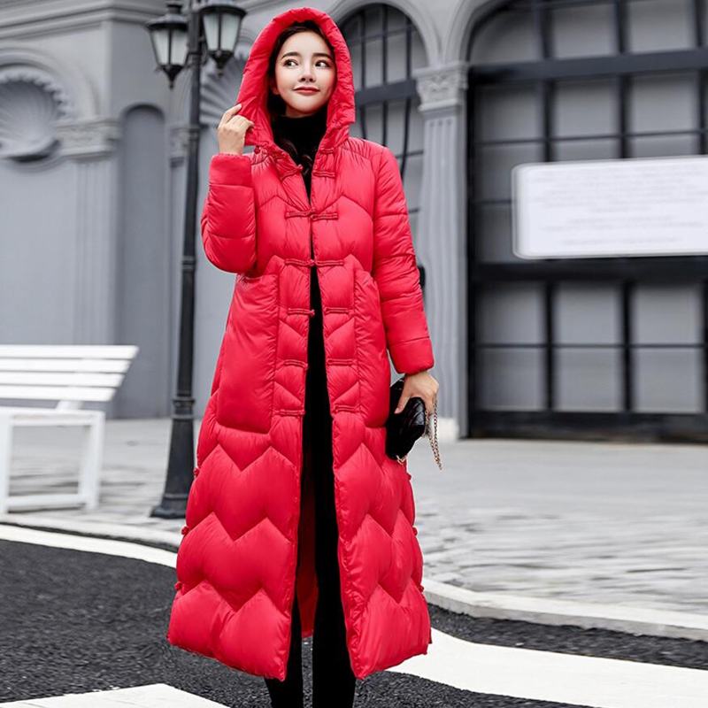 2018 Plus Size Long Autumn Winter Hooded   Coat   Women White Duck   Down   Jacket Parkas Thicken Warm   Down     Coat   Ladies Outerwear YP1240