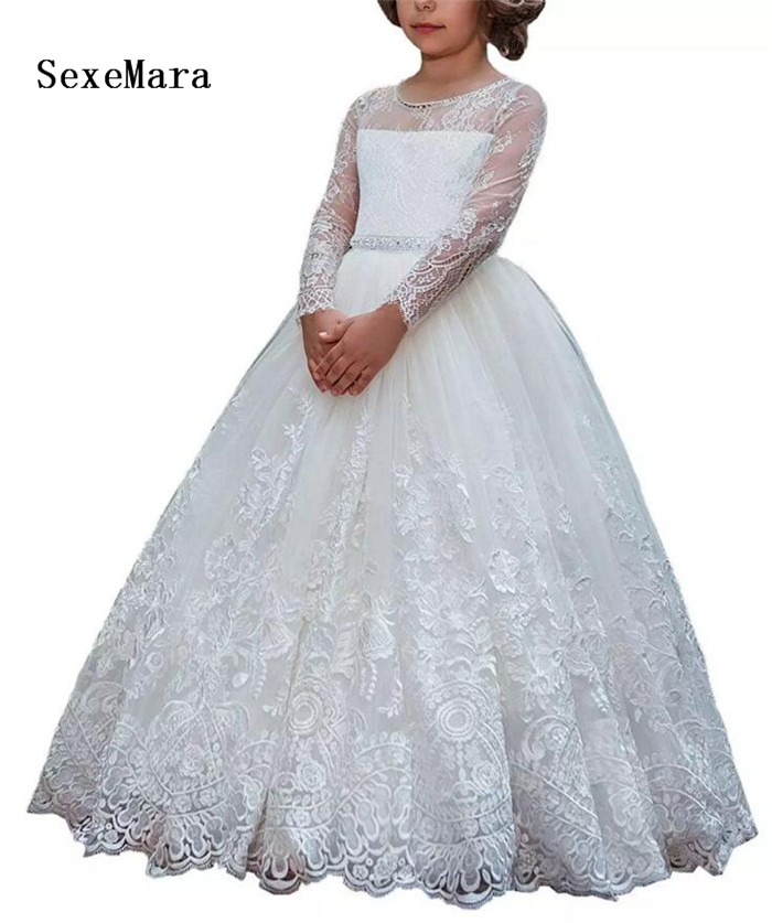 купить New White First Communion Dress Long Sleeves Lace Beading with Sash Puffy Tulle Ball Gown Flower Girls Dresses for Wedding онлайн