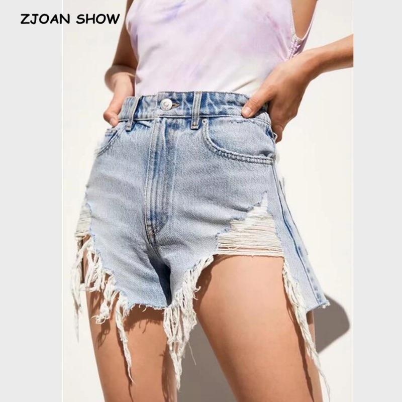 2019 Hight Street High Waist Roll Up Cuffs Short Denim Shorts Ripped Denim Short Pants Sexy Summer Hole Short Jeans Women