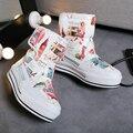 Mulheres botas nova moda de impressão à prova d' água botas de neve mulheres mid-calf toe rodada flat shoes quente botas de inverno de pelúcia