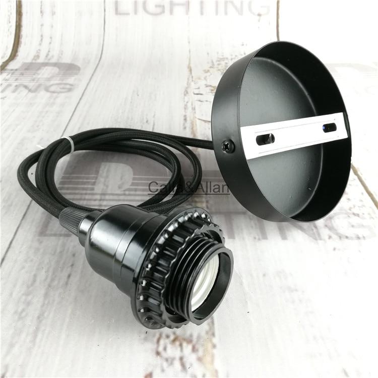 Free shipping Bakelit DIY pendant fixture black plastic socket with shade fitter+ceiling plate Edison pendant light AC110V/220V