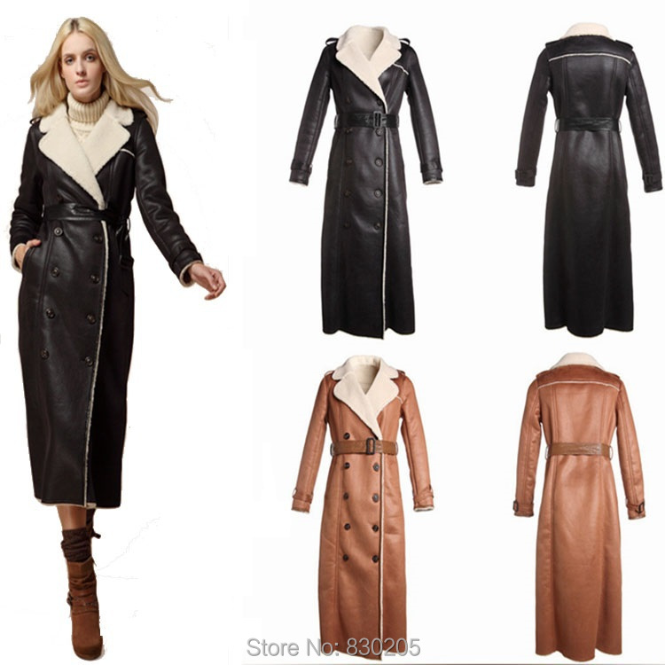 Aliexpress.com : Buy 2017 Fashion Extra Long Leather Jacket Double ...