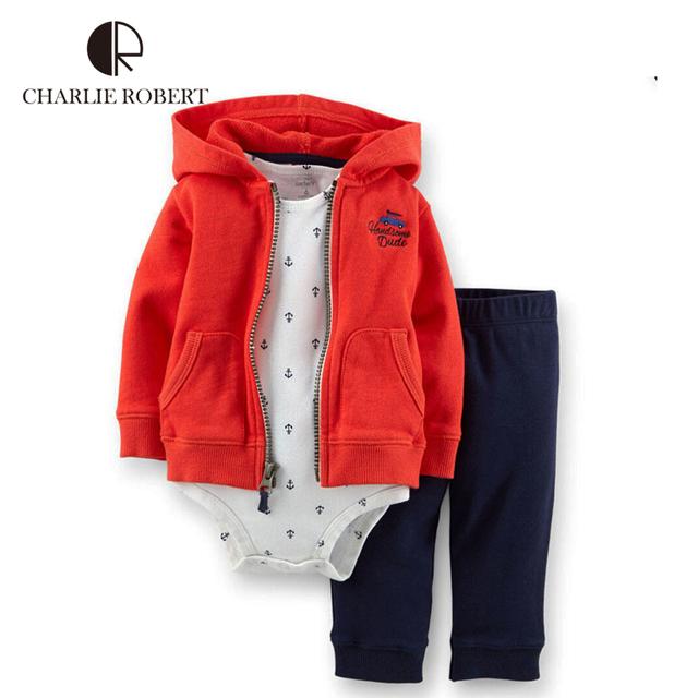 3 pcs clothing crianças encapuzados calças casaco conjunto bebê recém-nascido do bebê bodysuit de algodão de manga comprida macacão traje do miúdo das meninas dos meninos roupas