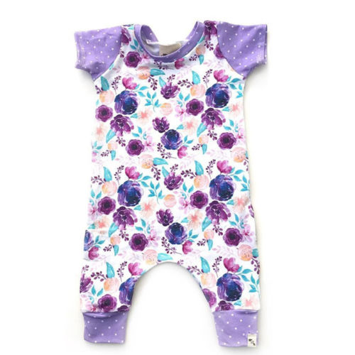 Newborn Baby Boy Girl Flower Short Sleeve Romper Jumpsuit One-piece Outfit Clothes Size 0-24M